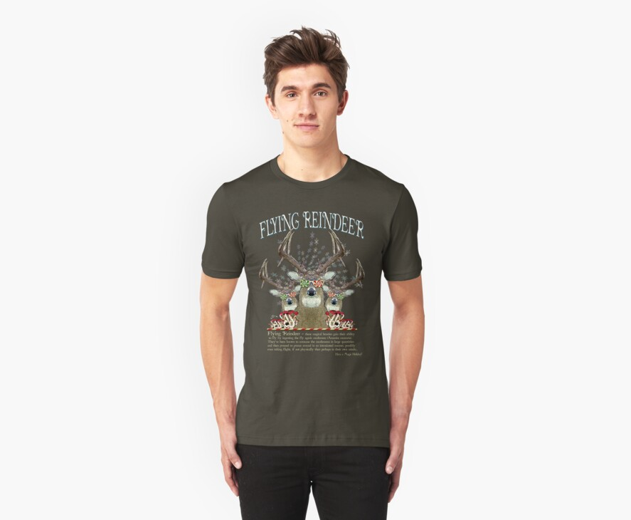 Flying Reindeer T shirt by GUS3141592