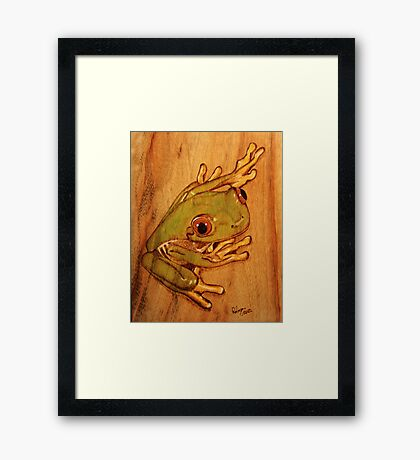 PYROGRAPHY: Tree Frog Framed Print