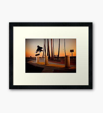 Pat Pasquale - Frontside Heelflip - Huntington Beach, CA - Photo Bart Jones Framed Print