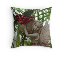 Garden Fairy: Holiday Greetings Throw Pillow