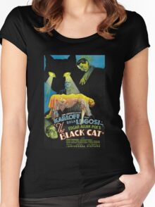 Black Cat - Poe Karloff and Lugosi Women's Fitted Scoop T-Shirt