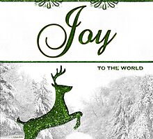 Joy to the World Reindeer Christmas Card by Doreen Erhardt