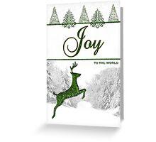 Joy to the World Reindeer Christmas Card Greeting Card