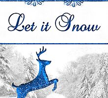Let It Snow Reindeer Christmas Card by Doreen Erhardt