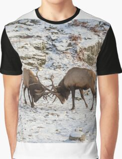 Elk in a fight Graphic T-Shirt