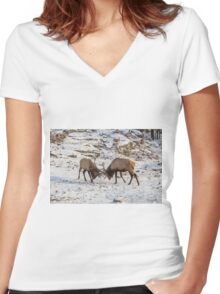 Elk in a fight Women's Fitted V-Neck T-Shirt
