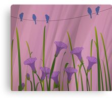 Blue Birds On A Wire Canvas Print
