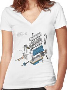 Nissan L6 Exploded View Women's Fitted V-Neck T-Shirt