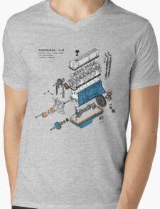 Nissan L6 Exploded View Mens V-Neck T-Shirt