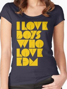 I Love Boys Who Love EDM (Electronic Dance Music) [Mustard] Women's Fitted Scoop T-Shirt