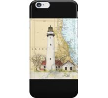 Grosse Pt Lighthouse IL Nautical Chart Cathy Peek iPhone Case/Skin