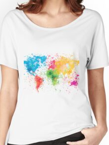 world map painting Women's Relaxed Fit T-Shirt