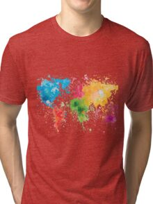 world map painting Tri-blend T-Shirt