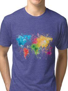 world map painting Tri-blend T-Shirt