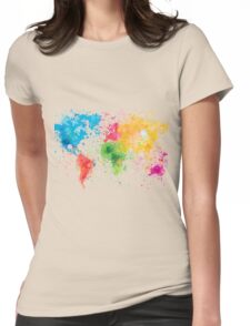 world map painting Womens Fitted T-Shirt