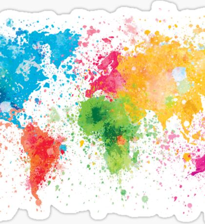 world map painting Sticker