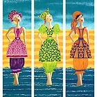 Beach Bloomers ~ just old fashioned girls by Lisa Frances Judd~QuirkyHappyArt