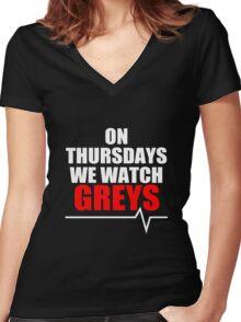 ON THURSDAYS WE WATCH GREY'S - For dark Women's Fitted V-Neck T-Shirt