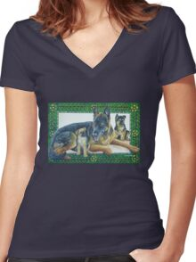 German Shepherd and Pups Women's Fitted V-Neck T-Shirt