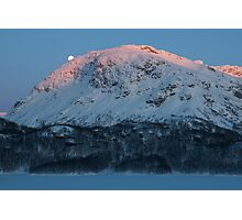 Sunset & moonrise in Valldalen Photographic Print