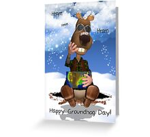 Groundhog Day Greeting Card With Groundhog Thinking Greeting Card