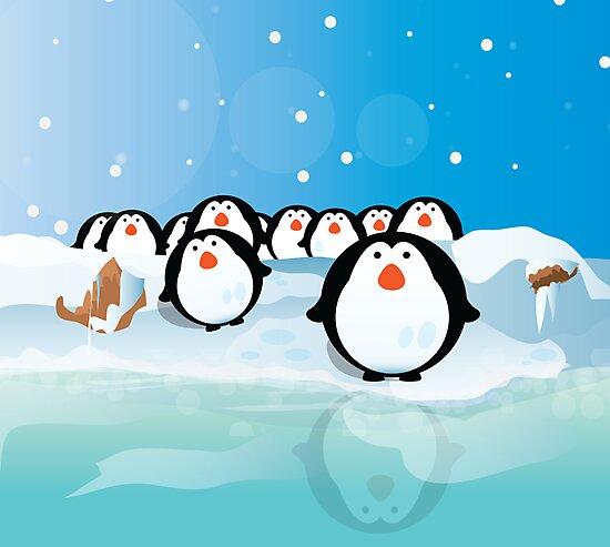 Penguins by Nick  Greenaway