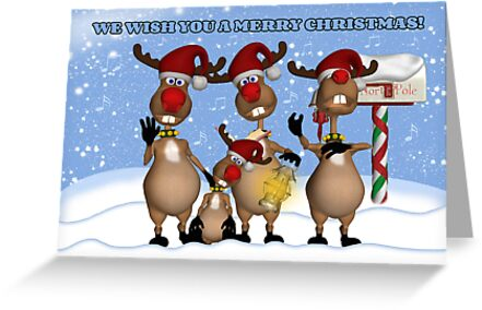 Singing Christmas Reindeer Greeting Card From All Of Us by Moonlake
