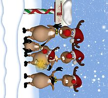iPhone Case Reindeer Singing Carols by Moonlake