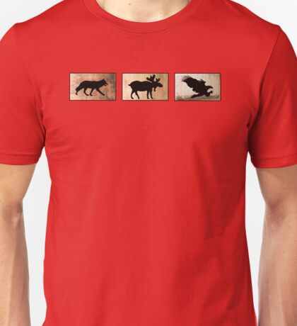 Wolf Moose and Bald Eagle Unisex T-Shirt