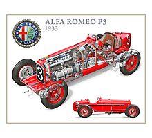 Alfa Romeo P3 - Cutaway Poster Photographic Print