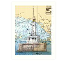 Grays Reef Lighthouse Lake MI Nautical Cathy Peek Art Print