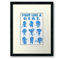 League of Legends Fight Like A Girl Blue Framed Print