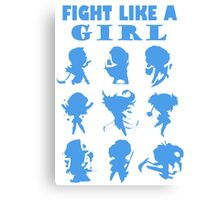League of Legends Fight Like A Girl Blue Canvas Print