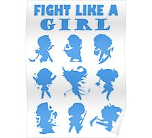 League of Legends Fight Like A Girl Blue Poster