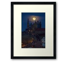 Super Moon Rise over Whitby Abbey North Yorkshire Dracula  Framed Print