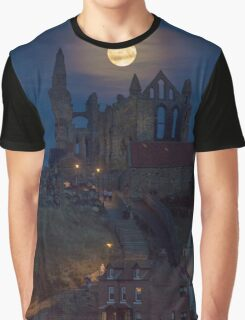 Super Moon Rise over Whitby Abbey North Yorkshire Dracula  Graphic T-Shirt