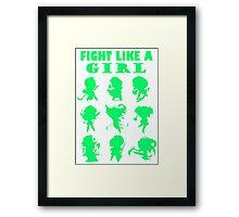 League of Legends Fight Like A Girl Green Framed Print
