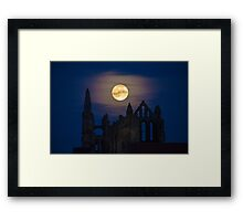 Whitby Abbey Moonrise Gothic Supermoon Benedictine Ruins IMG 1738 Framed Print