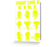 League of Legends Fight Like A Girl Yellow Greeting Card