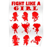 League of Legends Fight Like A Girl RED Poster