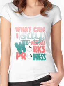 What Can I say [Light pink/Green] Women's Fitted Scoop T-Shirt