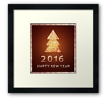 Christmas greeting card with tree retro light banner.  Framed Print