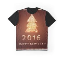 Christmas greeting card with tree retro light banner.  Graphic T-Shirt