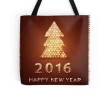 Christmas greeting card with tree retro light banner.  Tote Bag