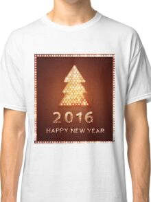 Christmas greeting card with tree retro light banner.  Classic T-Shirt