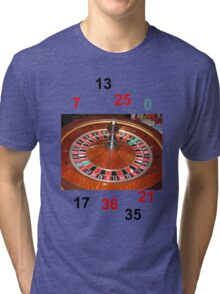 Roulette casino wheel chips and numbers Tri-blend T-Shirt