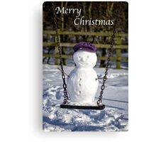 Swinging Snowman Canvas Print