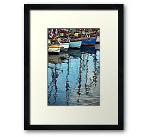 Bows of colourful boats and reflections in harbour, Brest 2008 Maritime Festival, France Framed Print