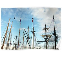 Ships masts with French Tricolore Flag and evening sky, Brest 2008 Maritime Festival, Brittany, France Poster