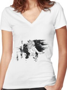 harry hair drawing Women's Fitted V-Neck T-Shirt